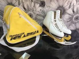 Risport White Leather Laser Profile Ice Skates Ladies Size UK 7 E With Carry Case.