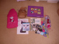 10 DIFFERENT CAT ITEMS (NEW TOYS), BOOKS CUSHION, ILLUSTRATED NOTEBOOK,LITTER TRAY FOR £3