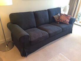 Comfortable 3 seater sofa w. dark gray linen. Mint condition.