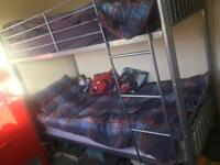 Silver Metal Bunk Beds or single beds (either/or)