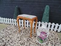 SOLID PINE TALL DRESSING TABLE STOOL WITH A BEAUTIFUL HANDMADE SEAT COVER