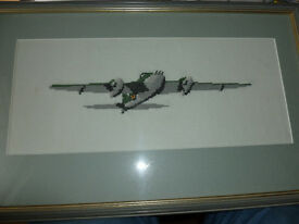 Hand embroidered and framed picture of a Mosquito airplane