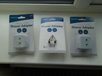 3 x EU 2 PIN to 3 PIN ELECTRIC ADAPTERS for ELECTRIC SHAVERS and ELECTRIC TOOTHBRUSHES, BRAND NEW