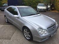 Mercedes c220 cdi coupe, 02 plate, automatic triptrinic silver, low mileage, 11 months mot