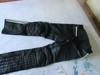 "Hein Gericke Black Leather Trousers 30"" Waist, Size 40 (UK 12)"