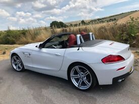 BMW Z4 28i MSport Convertible Roadster 2014 Immaculate Condition Pearlescent White with Red Leather