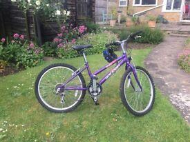 Girl's Raleigh Krush Bike 18 speed + helmet