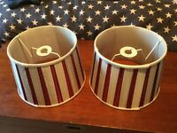 Pair of Red & White striped Laura Ashley Ceiling LIght Shades