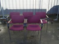 HOME OR OFFICE PADDED STACKING CHAIRS 5 FOR SALE ALL GOOD CONDITION