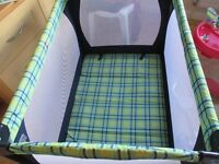 MOTHERCARE....TRAVEL COT....USED ONCE....CLEAN.......NO DAMAGE.ALSO BABY WALKER AND BABY BOUNCER
