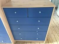 Argos pine and blue chest of drawers