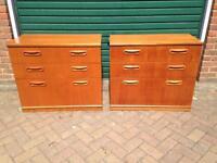 Pair Meredew vintage 1970s chest of drawers mid century teak retro