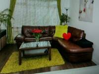 Real leather brown 5 seat corner sofa DFS