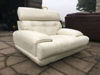 Ivory leather cuddle chair DELIVERY AVAILABLE