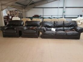 PRE OWNED Pavia 3 Seater + Armchair + Armchair in Brown Leather