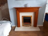 Pine Fire Surround with Marble back panel and Hearth. Suitable for Gas or Electric fire