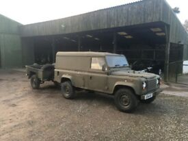 Land Rover Defender 110 Ex Military 1992 2.5N/A *MINT* + 12 Months MOT + Road Legal Sankey Trailer