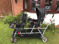 Joovy caboose sit and stand, double and triple buggy pushchair twin toddler