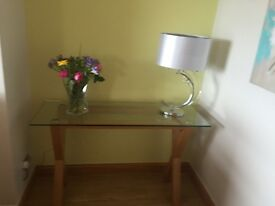 Solid oak glass top table