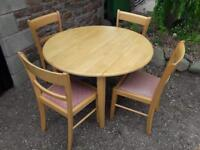 Beech table and four chairs