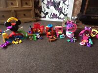 Mickey Mouse clubhouse, aeroplane, camper van, Minnie's camper van, boat and pet boutique