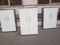 7 Walnut door/full white Finish Office Cupboard /storage/cabinet unit £99 each