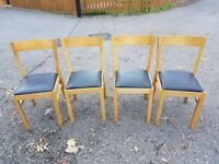 4 Ikea Solid Oak & Fabric Seat Chairs FREE DELIVERY 363