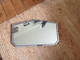 Fabulous art deco vintage mirror with original hanging chain