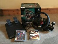 Logitech Driving Force GT for PS3 steering wheel 2 games Gran Turismo 5 & colin mcrae Play Station 3