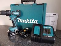 MAKITA DHP459 18v LXT BRUSHLESS LI-ION COMBI DRILL, 2x3ah,charger, AS BRAND NEW ,,,,DeWALT