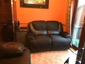 Black suede & leather 2 seater recliner sofa, very good condition