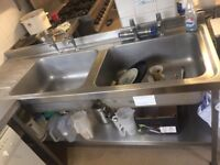 Stainless steel prep tables/ double sink unit