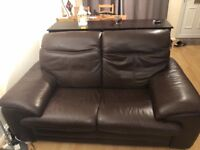 2 Piece Leather Sofa Suite - One Recliner