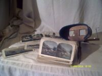 STEREOSCOPIC WITH a COLLECTION of CARDS , ALL TYPES , TRAVEL etc A VERY CLEAN VIEWER
