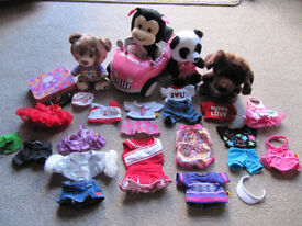 Set of 4 Build a Bear Small Fry , Car, Suitcase and outfits - vgc- £25