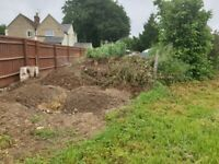 Waste soil, and mixed in small stones, from a recent project