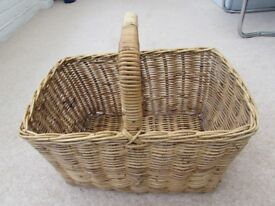 basket for logs wicker rectangle with handle sturdy