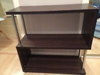 Dark wood and metal shelves