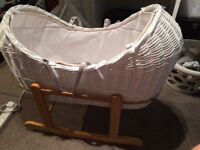 White wicker Moses basket with stand, mattress and cover.