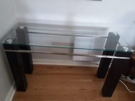 REDUCED!! Console Table with Glass Top & Wooden Legs