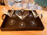 6 Cocktail Glasses + Serving Tray
