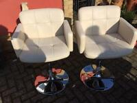 Pair faux cream leather stools