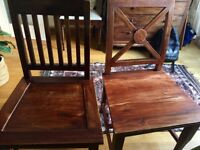 6 hard wood chairs for sale, very good condition. Colonial style, solid and smart.