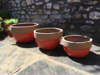 Set of 3 glazed round outdoor plant pots