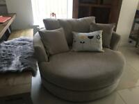 Grey swivel sofa/chair love seat