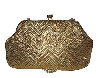 1950s Handbags, Purses, and Evening Bag Styles VINTAGE Rockabilly 1950s Original Gold Gltz Cocktail Glamour Clutch HANDBAG $56.17 AT vintagedancer.com