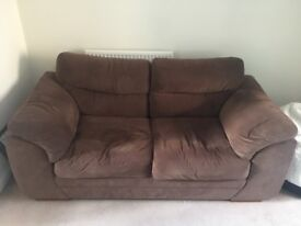 2 x Brown Fabric Sofas For Sale