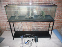 4ft fish tank with stand, shelf, pump & accessories