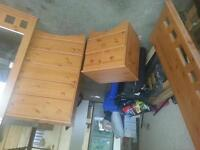 5 drawer dresser, night table, head board and mirror