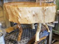 Hand made rustic coffee table 39cm high and 61cm across